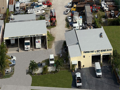 View from overhead of pompano paint and body